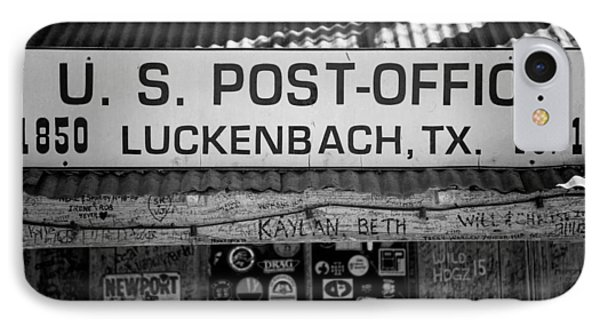 Luckenbach Tx Post Office Sign IPhone Case by Stephen Stookey
