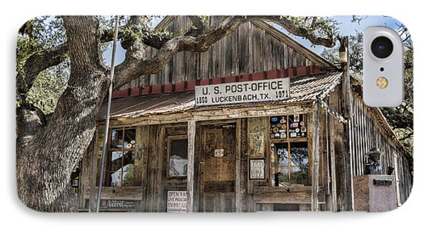 Luckenbach Tx Post Office IPhone Case by Stephen Stookey