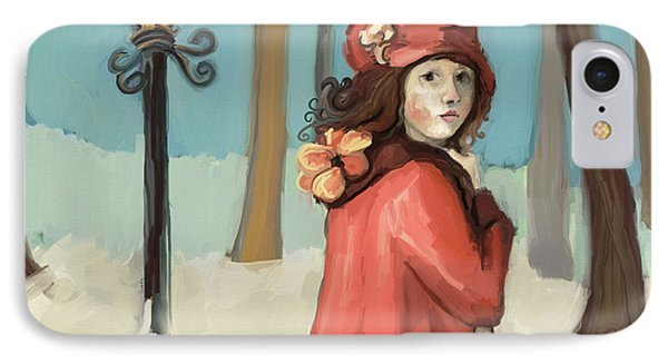 Girl In The Snow IPhone Case by Carrie Joy Byrnes