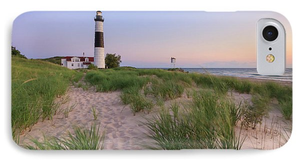 IPhone Case featuring the photograph Ludington Beach And Big Sable Point Lighthouse by Adam Romanowicz
