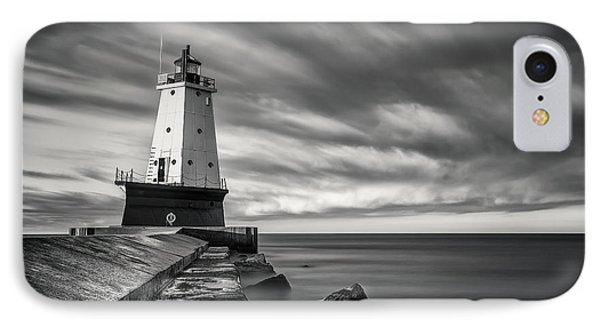 IPhone 7 Case featuring the photograph Ludington Light Black And White by Adam Romanowicz