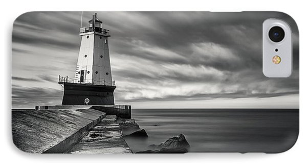 IPhone Case featuring the photograph Ludington Light Black And White by Adam Romanowicz