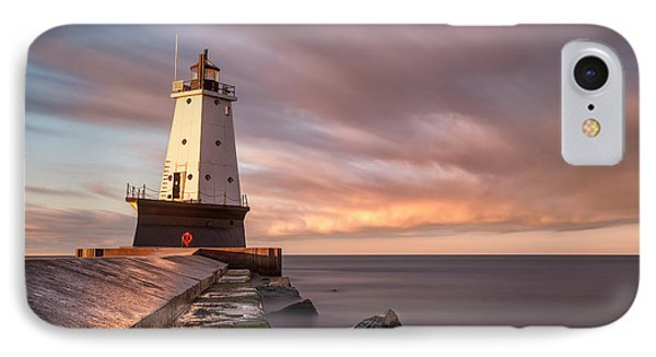 IPhone 7 Case featuring the photograph Ludington Light Sunrise Long Exposure by Adam Romanowicz