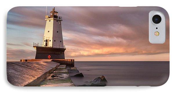 IPhone Case featuring the photograph Ludington Light Sunrise Long Exposure by Adam Romanowicz
