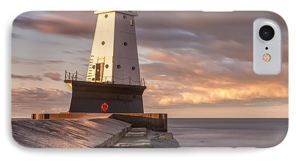 IPhone Case featuring the photograph Ludington North Breakwater Light At Dawn by Adam Romanowicz