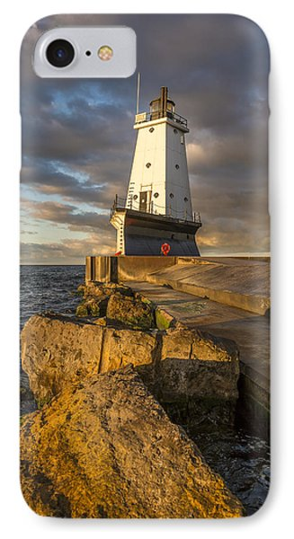Marquette iPhone 7 Case - Ludington North Breakwater Lighthouse At Sunrise by Adam Romanowicz