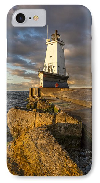 IPhone Case featuring the photograph Ludington North Breakwater Lighthouse At Sunrise by Adam Romanowicz