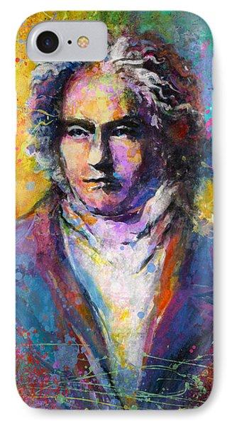 Ludwig Van Beethoven Portrait Musical Pop Art Painting Print IPhone Case by Svetlana Novikova