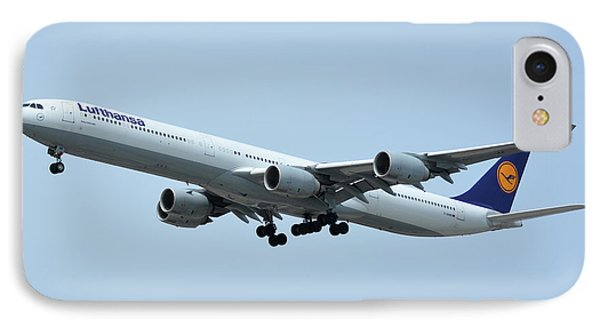 IPhone Case featuring the photograph Lufthansa Airbus A340-600 D-aihw Los Angeles International Airport May 3 2016 by Brian Lockett