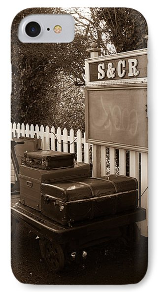 Luggage At Blunsdon Station IPhone Case by Steven Sexton