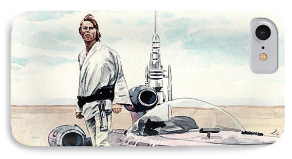 Luke Skywalker On Tatooine Star Wars A New Hope IPhone Case by Laura Row