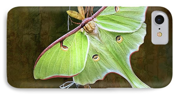 IPhone Case featuring the digital art Luna Moth by Thanh Thuy Nguyen