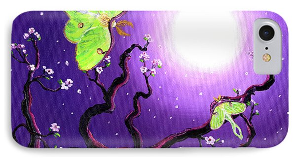 Luna Moths In Moonlight Phone Case by Laura Iverson