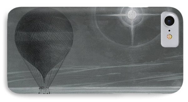 Lunar Halo And Luminescent Cross Observed During The Balloon Zenith's Long Distance Flight IPhone Case