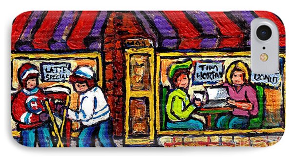 Lunch At Tim Horton's Coffee Shop Hockey Game Montreal Winter City Scene Canadian Art For Sale  IPhone Case by Carole Spandau