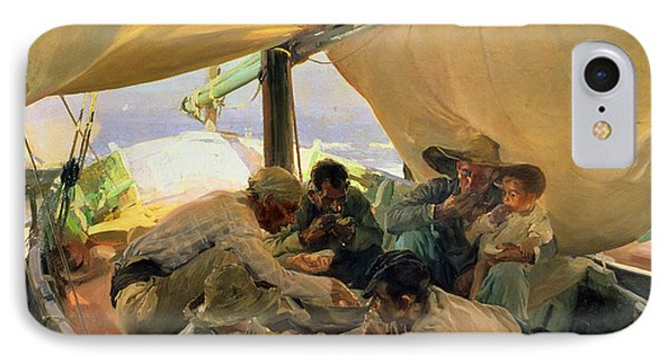 Lunch On The Boat IPhone Case by Joaquin Sorolla y Bastida