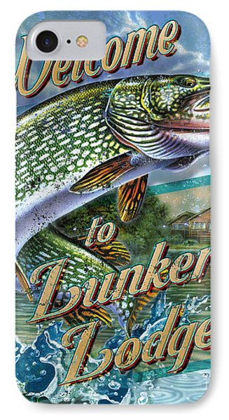 Lunkers Lodge Sign IPhone Case by Jon Q Wright