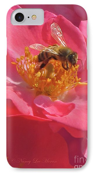 IPhone Case featuring the photograph Luscious Rose With A Bee by Nancy Lee Moran
