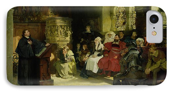 Luther Preaches Using His Bible Translation While Imprisoned At Wartburg IPhone Case by Hugo Vogel