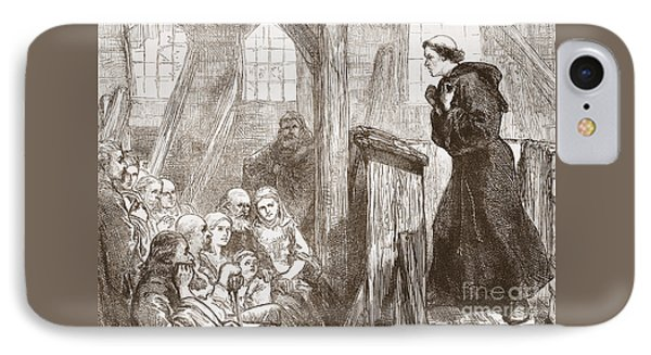 Luther Preaching In The Old Wooden Church At Wittemberg IPhone Case by English School