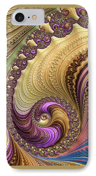 IPhone Case featuring the digital art Luxe Colorful Fractal Spiral by Matthias Hauser