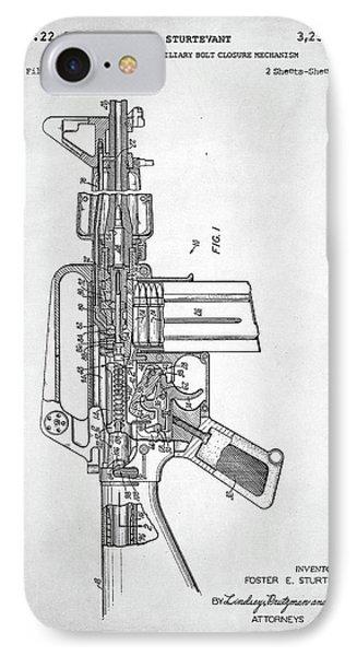 IPhone Case featuring the digital art M-16 Rifle Patent by Taylan Apukovska