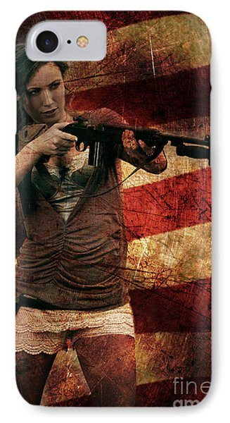 M1 Carbine On American Flag IPhone Case by David Bazabal Studios