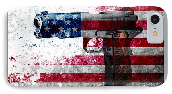 M1911 Colt 45 And American Flag On Distressed Metal Sheet IPhone Case by M L C