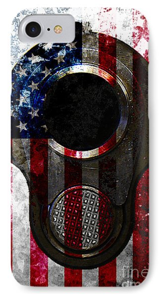 M1911 Colt 45 Muzzle And American Flag On Distressed Metal Sheet IPhone Case by M L C