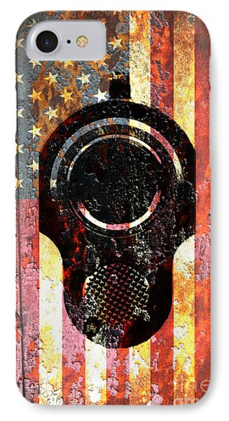 M1911 Colt 45 On Rusted American Flag IPhone Case by M L C