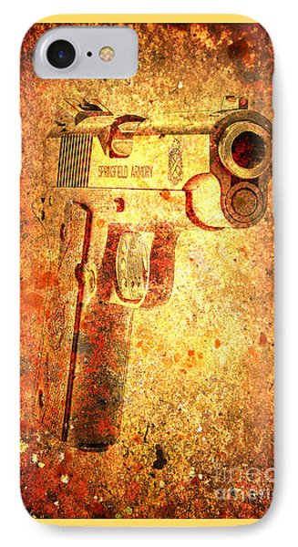 M1911 Muzzle On Rusted Background 3/4 View IPhone Case by M L C