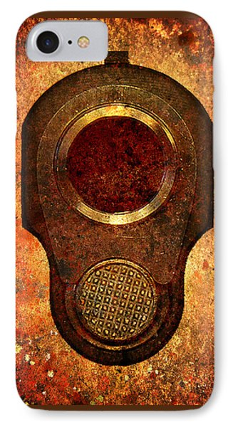 M1911 Muzzle On Rusted Background IPhone Case by M L C