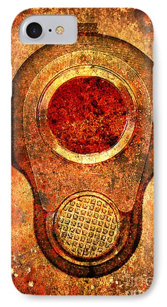 M1911 Muzzle On Rusted Background - With Red Filter IPhone Case by M L C