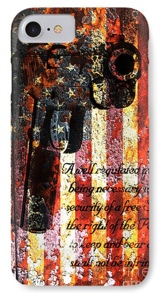 M1911 Pistol And Second Amendment On Rusted American Flag IPhone Case by M L C
