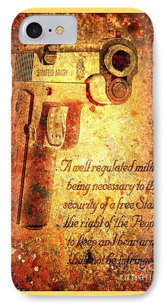 M1911 Pistol And Second Amendment On Rusted Overlay IPhone Case by M L C