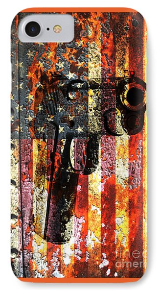 M1911 Silhouette On Rusted American Flag IPhone Case by M L C