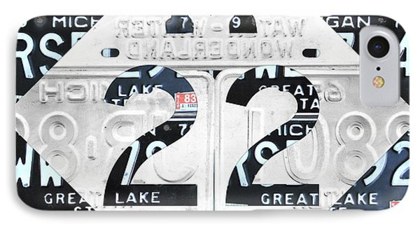 M22 Michigan Highway Symbol Recycled Vintage Great Lakes State License Plate Logo Art IPhone Case