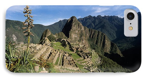 Machu Picchu And Bromeliad Phone Case by James Brunker