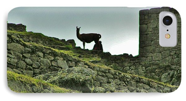 IPhone Case featuring the photograph  Macchu Picchu Llama Silhouette  by Michele Penner