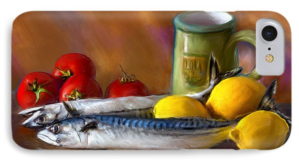 IPhone Case featuring the photograph Mackerels, Lemons And Tomatoes by Juan Carlos Ferro Duque