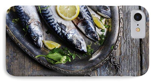 Lemon iPhone 7 Case - Mackerels On Silver Plate by Jelena Jovanovic