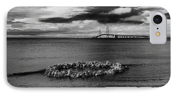 Mackinac Bridge - Infrared 03 IPhone Case by Larry Carr