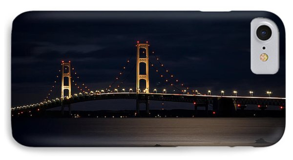 Mackinac Bridge At Night IPhone Case by Larry Carr