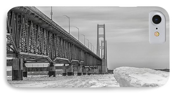 IPhone Case featuring the photograph Mackinac Bridge Icy Black And White  by John McGraw