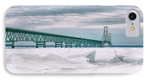 IPhone Case featuring the photograph Mackinac Bridge In Winter During Day by John McGraw