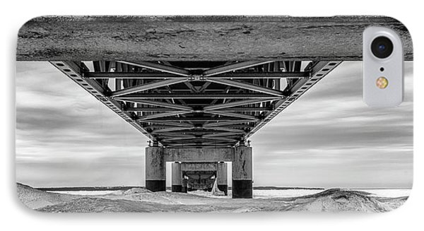 IPhone Case featuring the photograph Mackinac Bridge In Winter Underneath  by John McGraw