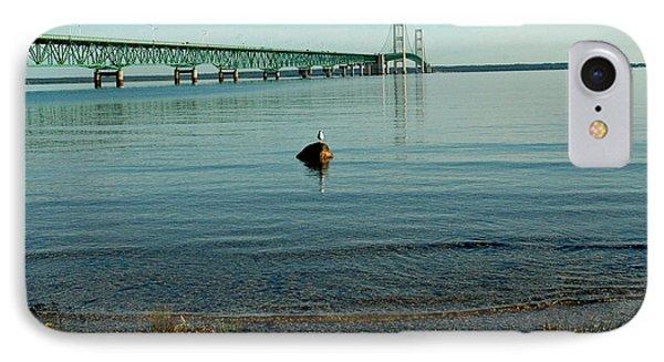 IPhone Case featuring the photograph Mackinac Bridge Michigan by LeeAnn McLaneGoetz McLaneGoetzStudioLLCcom
