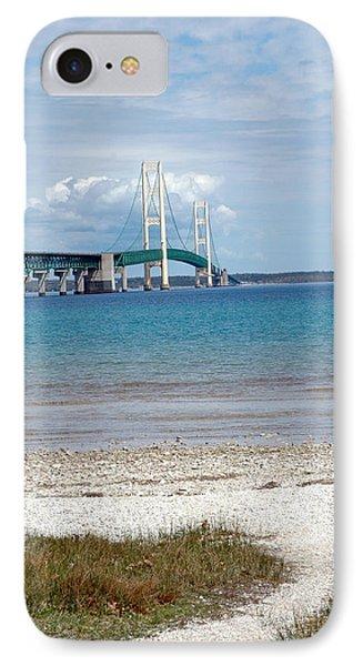 IPhone Case featuring the photograph Mackinac Bridge Path To Lake by LeeAnn McLaneGoetz McLaneGoetzStudioLLCcom