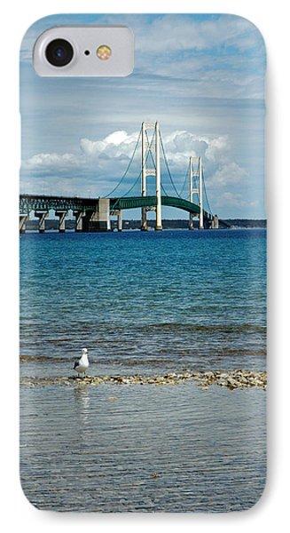 IPhone Case featuring the photograph Mackinac Bridge Private Seagull Beach by LeeAnn McLaneGoetz McLaneGoetzStudioLLCcom