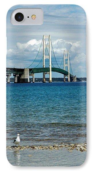 IPhone Case featuring the photograph Mackinac Bridge With Seagull by LeeAnn McLaneGoetz McLaneGoetzStudioLLCcom